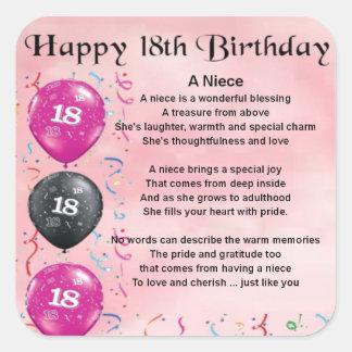 Niece Poem - 18th Birthday Square Sticker