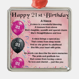 Niece Poem - 21st Birthday Christmas Ornament