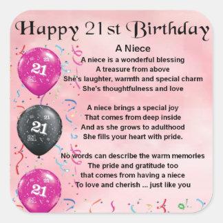 Niece Poem - 21st Birthday Square Sticker