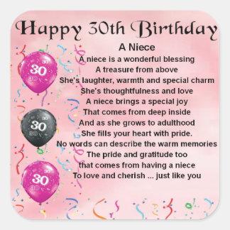 Niece Poem - 30th Birthday Square Sticker