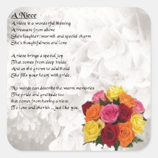 Niece Poem - Flowers Square Sticker