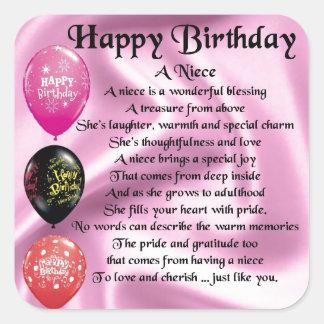 Niece Poem - Happy Birthday Square Sticker