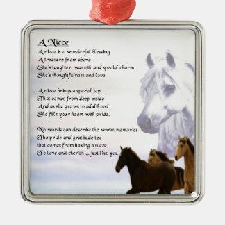 Niece Poem - Horses Christmas Ornament