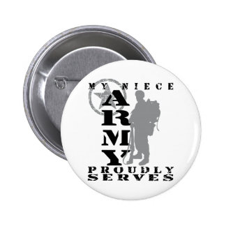 Niece Proudly Serves - ARMY 6 Cm Round Badge