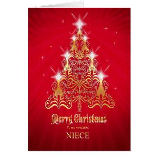 Niece, Stylized tree Christmas card