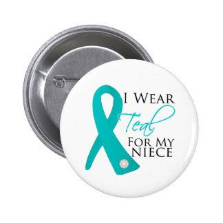 Niece - Teal Ribbon Ovarian Cancer 6 Cm Round Badge