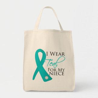Niece - Teal Ribbon Ovarian Cancer Canvas Bags