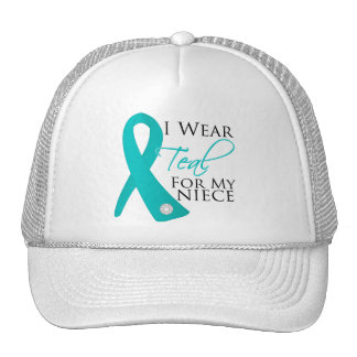 Niece - Teal Ribbon Ovarian Cancer Mesh Hat