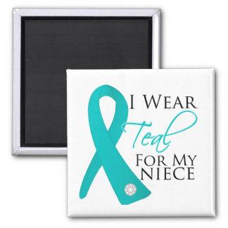 Niece - Teal Ribbon Ovarian Cancer Refrigerator Magnet