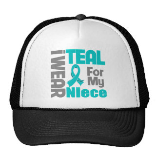 Niece - Teal Ribbon Ovarian Cancer Support Mesh Hats