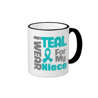 Niece - Teal Ribbon Ovarian Cancer Support Coffee Mugs