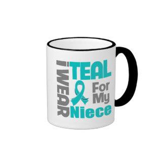 Niece - Teal Ribbon Ovarian Cancer Support Ringer Mug