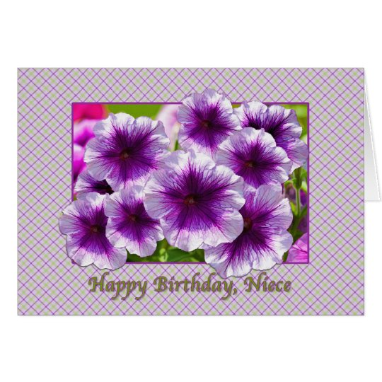 Niece's Birthday Card with Purple Petunias