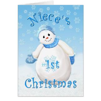 Niece's First Christmas Snowman Greeting Card
