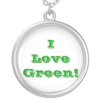 Niecklace I Love Green Round Pendant Necklace