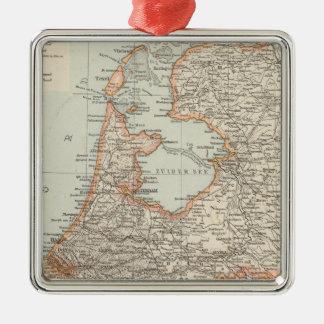 Niederlande - Netherlands Map Silver-Colored Square Decoration