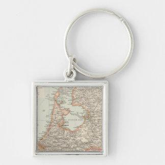 Niederlande - Netherlands Map Silver-Colored Square Key Ring