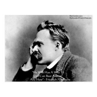 "Nietzsche ""A Why"" Wisdom Quote Gifts & Cards Postcard"