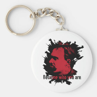 Nietzsche Keychain- Become Who You Are Basic Round Button Key Ring