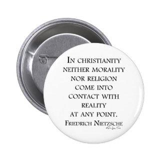 Nietzsche on christianity 6 cm round badge