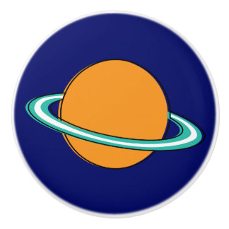 Nifty fifties - orange ringed planet ceramic knob