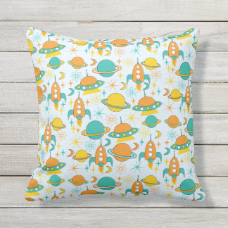 Nifty fifties - space age throw pillow