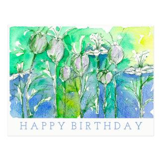 Nigella Watercolor Flowers Happy Birthday Postcard