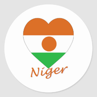 Niger Flag Heart Classic Round Sticker