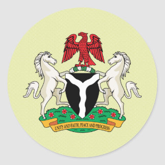 Nigeria Coat of Arms detail Classic Round Sticker