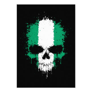 Nigeria Dripping Splatter Skull Invitations