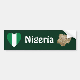 Nigeria Flag Heart + Map Bumper Sticker