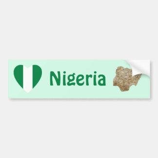 Nigeria Flag Heart + Map Bumper Sticker