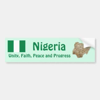 Nigeria Flag + Map Bumper Sticker