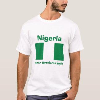 Nigeria Flag + Map + Text T-Shirt