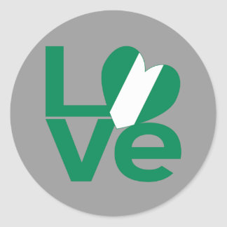 Nigeria LOVE Green Classic Round Sticker