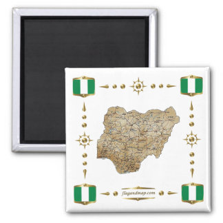 Nigeria Map + Flags Magnet