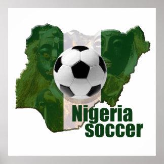 Nigeria soccer culture Map of Nigeria gifts Print