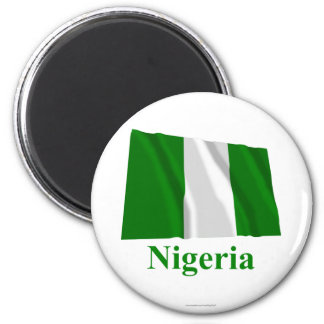 Nigeria Waving Flag with Name 6 Cm Round Magnet