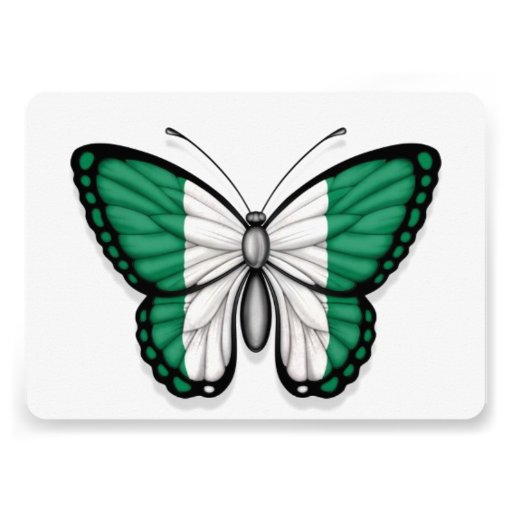 Nigerian Butterfly Flag Personalized Invites