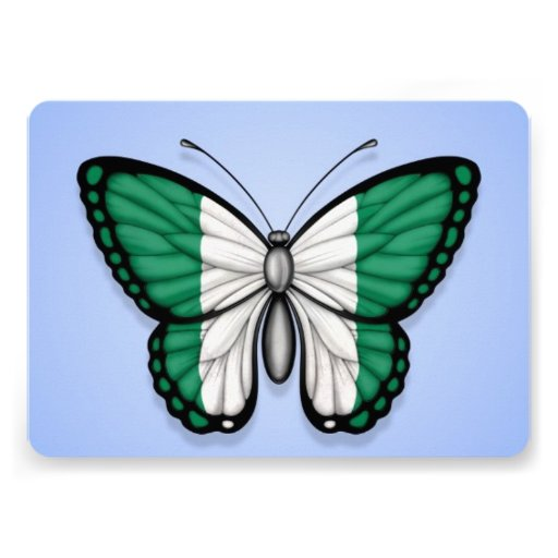 Nigerian Butterfly Flag on Blue Cards