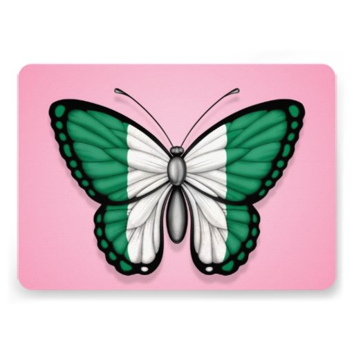 Nigerian Butterfly Flag on Pink Personalized Announcement