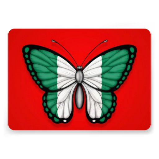 Nigerian Butterfly Flag on Red Personalized Announcements