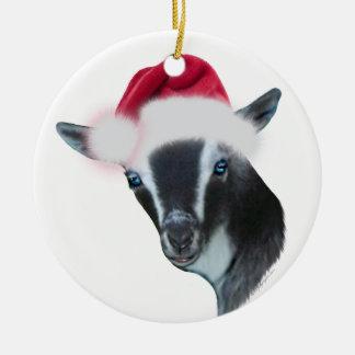 Nigerian Dwarf Goat Santa Hat Christmas Ornament