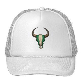 Nigerian Flag Bull Skull Hat