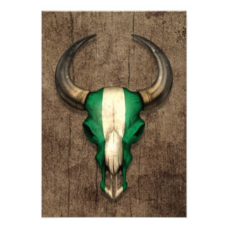 Nigerian Flag Bull Skull on Wood Effect Invites