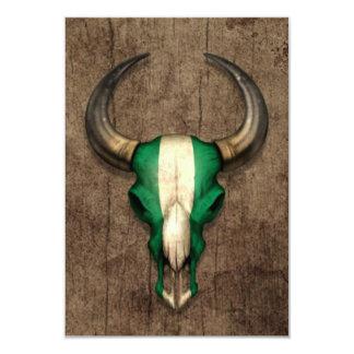 Nigerian Flag Bull Skull on Wood Effect 3.5x5 Paper Invitation Card