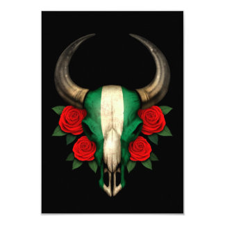 Nigerian Flag Bull Skull with Red Roses 3.5x5 Paper Invitation Card