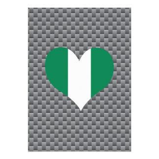 "Nigerian Flag on a cloudy background 5"" X 7"" Invitation Card"