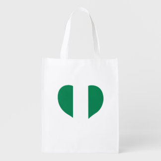 Nigerian Flag on a cloudy background Grocery Bag