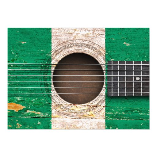 Nigerian Flag on Old Acoustic Guitar Personalized Invite